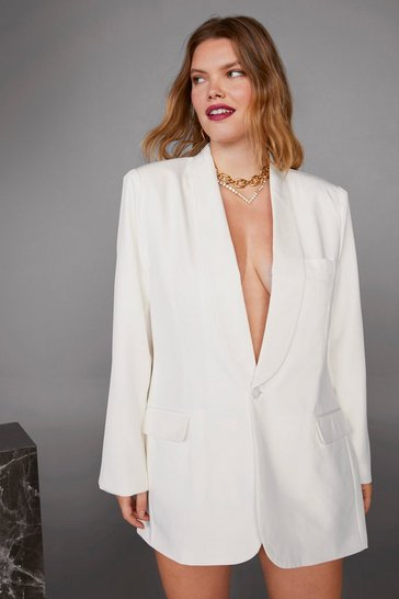 Womens White Strong Enough Plus Blazer Dress
