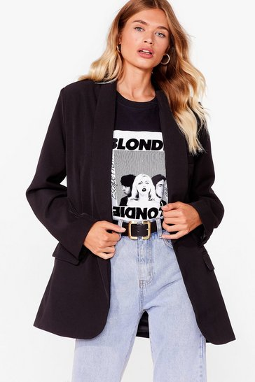 Black Shawl Lapel Oversized Mini Blazer Dress