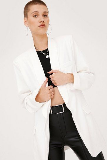 White Shawl Lapel Oversized Mini Blazer Dress