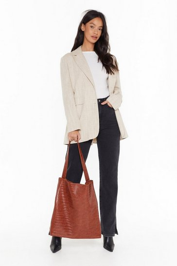 Womens Tan WANT Wait for the Reveal Croc Oversized Tote Bag and Clutch