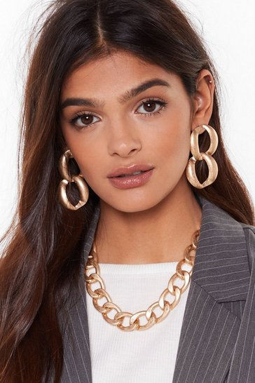 Womens Gold Right As Chain Necklace and Earrings Set