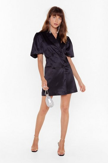 Black We're Busy Satin Blazer Dress