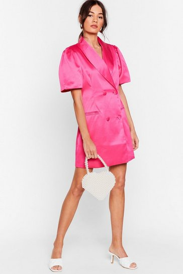 Hot pink We're Busy Satin Blazer Dress