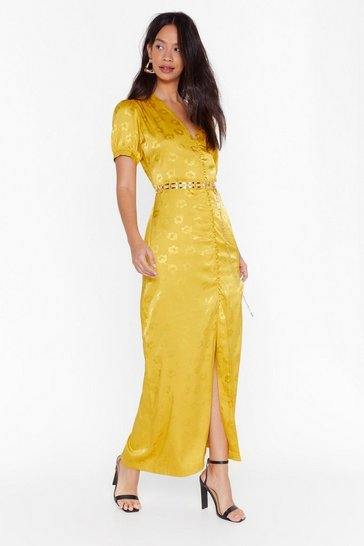 Mustard Don't Try So Jacquard Satin Maxi Dress