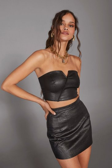 Black Strapless Faux Leather Corset Top