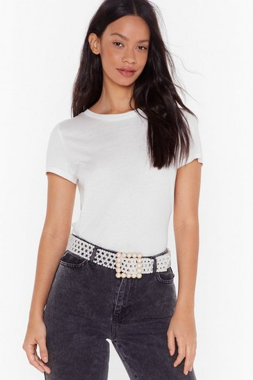 Womens White Most Pearls Oversized Buckle Belt