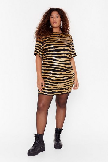 Womens Gold Girl Gone Wild Plus Zebra Dress