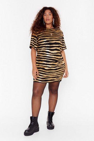 Gold Girl Gone Wild Plus Zebra Dress
