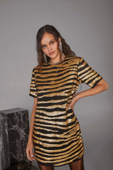 Gold Girl Gone Wild Zebra Sequin Dress