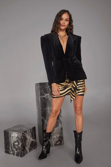 Womens Black Dressed to Kill Velvet Blazer