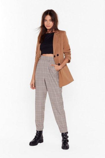 Womens Brown On Your Checklist High-Waisted Tapered Pants