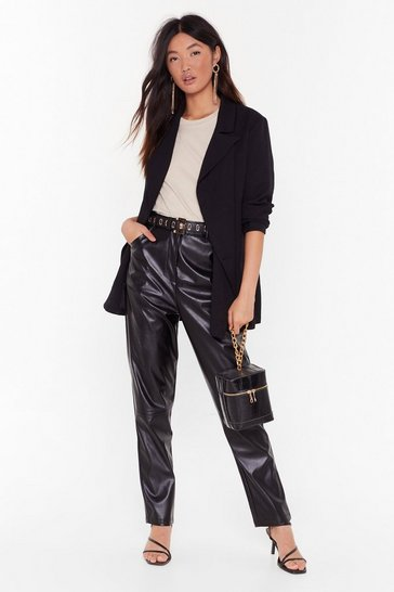 Black Some Things Faux Leather Change Pants