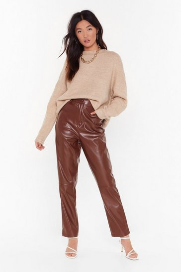 Womens Chocolate pu high waist wide leg trouser