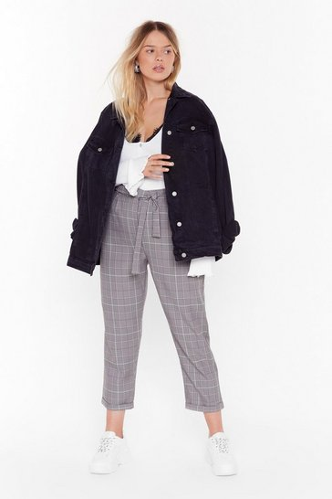 Womens Black Tartan Up the Party Plus High-Waisted Pants