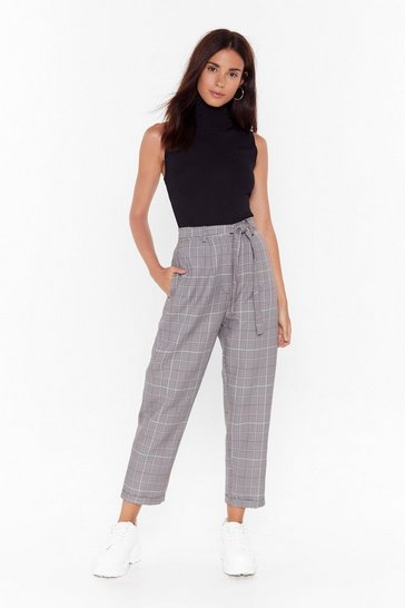 Black Checkin' Out High-Waisted Tapered Pants
