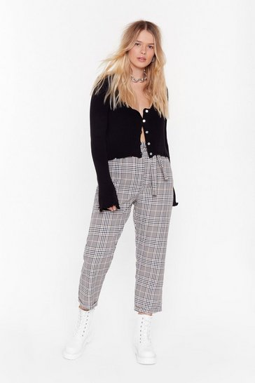 Brown Plaid Hard to Get Plus High-Waisted Pants
