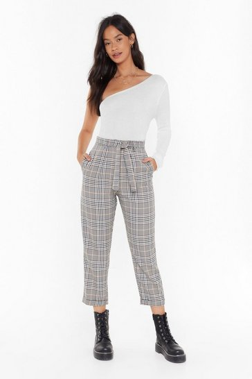 Womens Brown Plaid Hard to Get Tapered Tie Pants