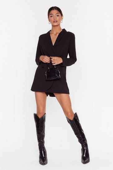 Womens Black Blazer Belive It Plunging V-Neckline Romper