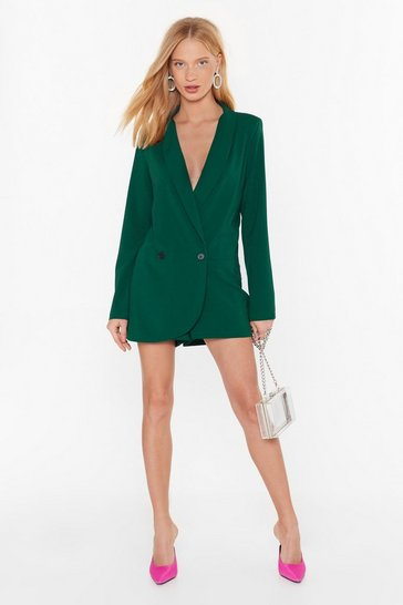 Womens Green Blazer Belive It Plunging V-Neckline Romper
