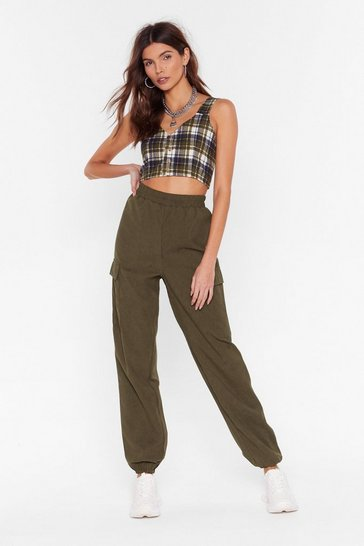 Womens Khaki Cargo Home High-Waisted Pants