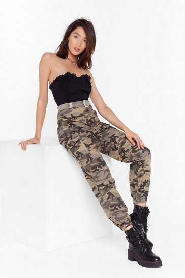 Khaki Makin' A Camo Appearance High-Waisted Cargo Pants