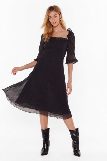 Womens Black Only Time Frill Tell Puff Sleeve Midi Dress