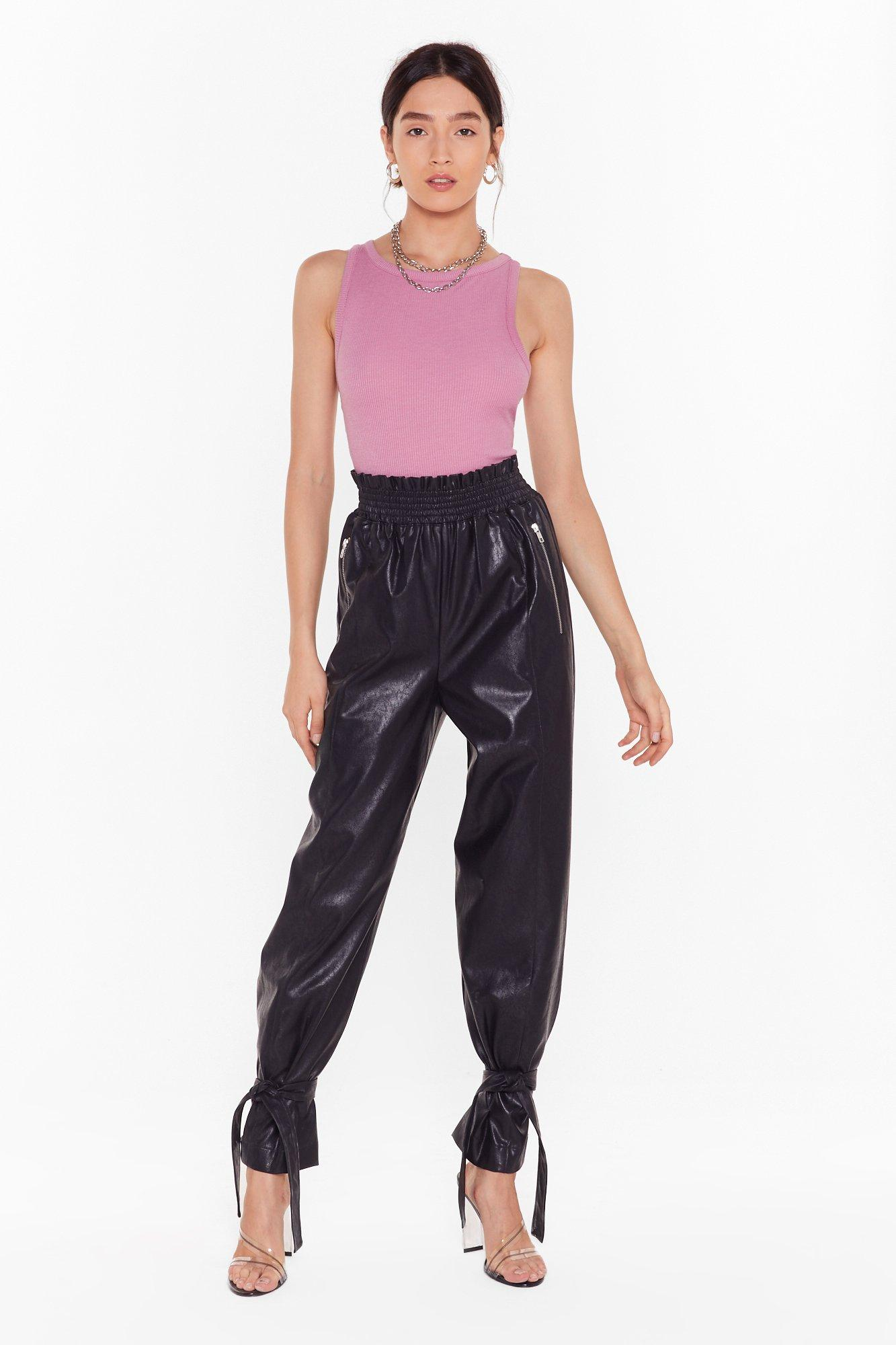 BREAKING NEWS FAUX LEATHER PAPERBAG PANTS white
