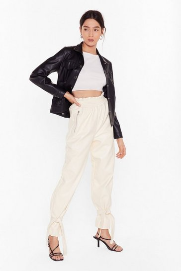 Cream Breaking News Faux Leather Paperbag Pants