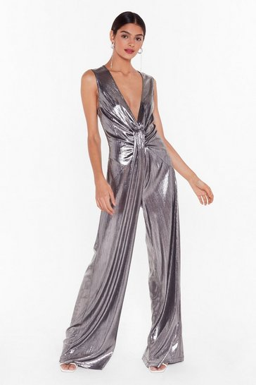 Womens Silver Nasty Gal Studio Livin' On a Prayer Wide-Leg Jumpsuit