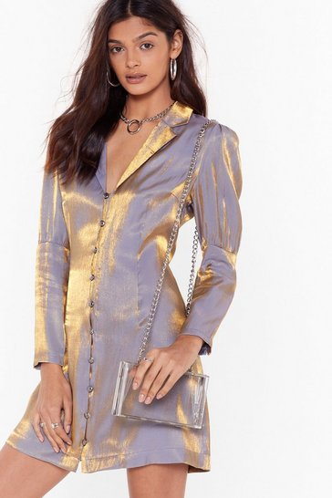 Womens Lilac Feelin' Like a Shimmer Button-Down Blazer Dress
