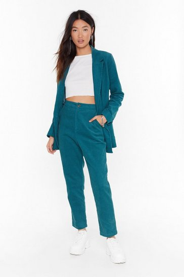 Teal It Suits You High-Waisted Corduroy Pants