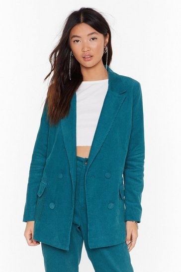 Womens Teal It Suits You Double Breasted Blazer