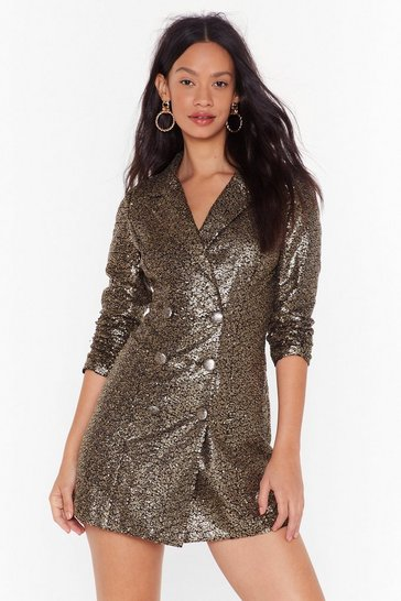 Womens Gold We Always Sequin Blazer Dress