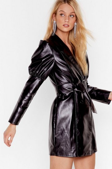 Womens Black Too Much is Faux Leather Enough Mini Dress