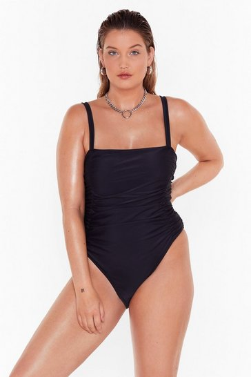 Black Summer Lovin' Plus Ruched Swimsuit