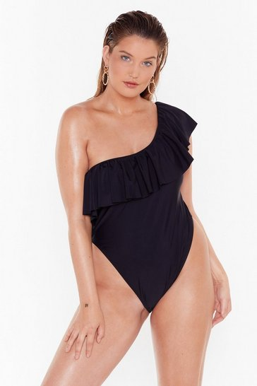 Black Hey Beach One Shoulder Plus High-Leg Silhouette
