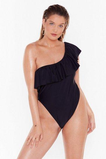 Black Hey Beach One Shoulder Plus High-Leg Silhouette