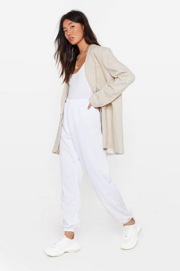 White High-Waisted Joggers with Elasticized Waist