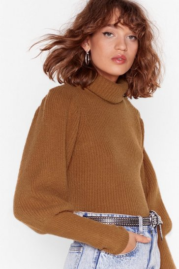 Camel Get Knit Right Turtleneck Balloon Sleeve Sweater