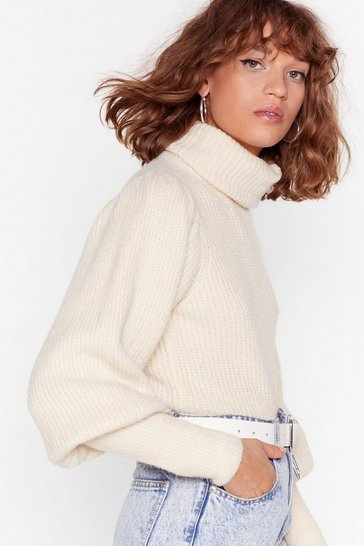 Cream Get Knit Right Turtleneck Balloon Sleeve Sweater