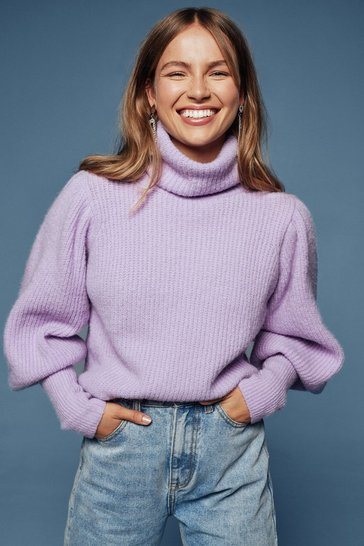 Lilac Get Knit Right Turtleneck Balloon Sleeve Sweater