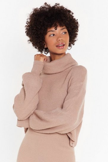 Taupe Get Knit Right Turtleneck Balloon Sleeve Sweater