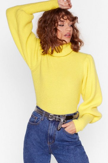 Womens Yellow Get Knit Right Turtleneck Balloon Sleeve Sweater