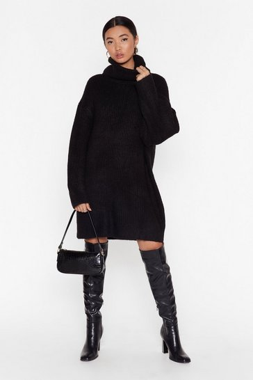 Black Knit Just Got Better Turtleneck Sweater Dress