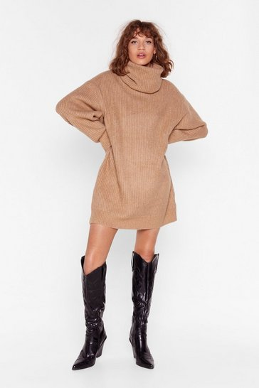 Camel Knit Just Got Better Turtleneck Sweater Dress
