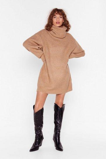 Camel Knit Just Got Better Turtleneck Sweater Dress