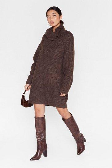 Chocolate Knit Just Got Better Turtleneck Sweater Dress