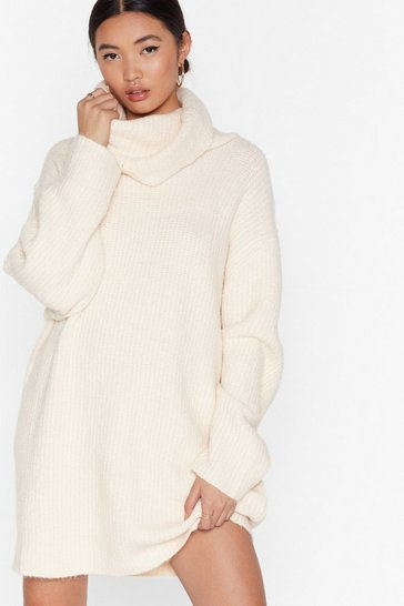 Cream Knit Just Got Better Turtleneck Sweater Dress