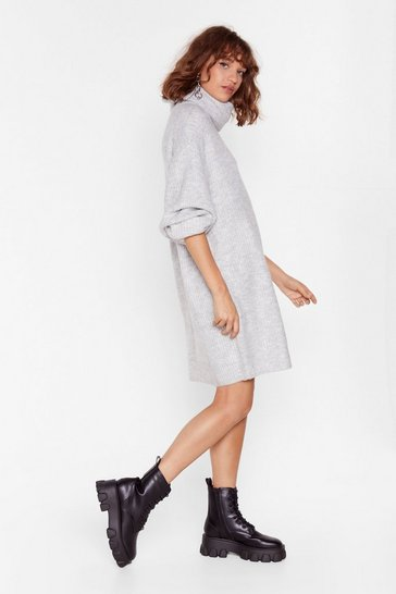 Grey Knit Just Got Better Turtleneck Sweater Dress