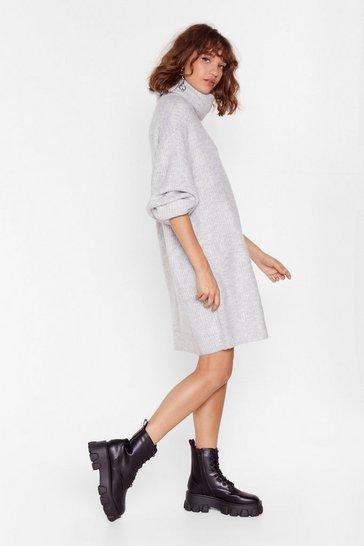 Grey Knit Just Got Better Turtleneck Sweater Dress